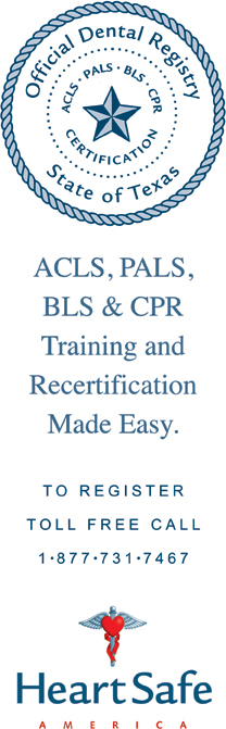 ACLS, PALS, BLS & CPR Training and Recertification Made Easy. To register toll free call 1-877-731-7467. HeartSafe America